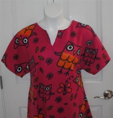 Abby FLEECE Nightgown - Pink Owl | Fleece Gowns
