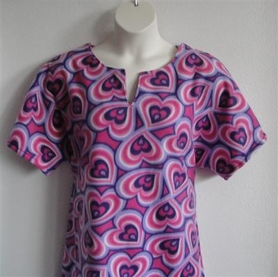 Abby FLEECE Nightgown - Pink/Purple Hearts | Fleece Gowns