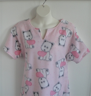 Abby FLEECE Nightgown - Pink Dogs and Hearts | Fleece Gowns