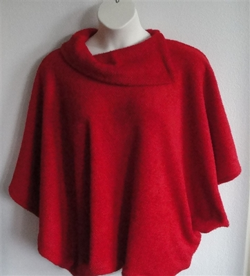 Red Fleece Side Opening Post Surgery Sweater - Emily