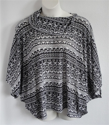 Emily Side Opening Sweater - Black/White Aztec | Sweaters