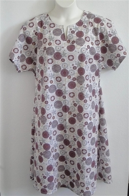 Erin Nightgown - Burgundy/Gray Medallion | Woven Fabric Gowns
