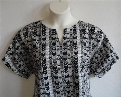 Gracie Shirt - Black/Gray Chevron   Woven Fabrics