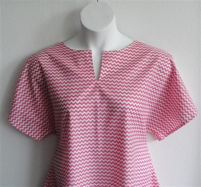Gracie Shirt - Pink/White Chevron | Woven Fabrics