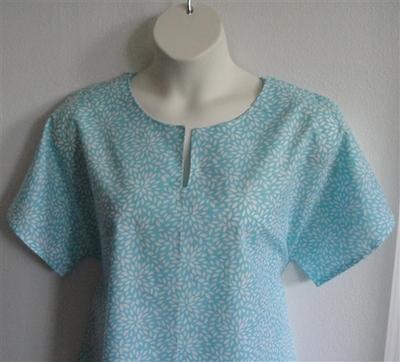 Gracie Shirt - Turquoise Flower Petals | Woven Fabrics