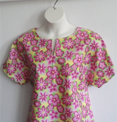 Gracie Shirt - Pink/Yellow Floral Krinkle | Woven Fabrics