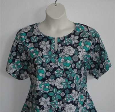 Gracie Shirt - Navy/Turquoise Floral | Woven Fabrics