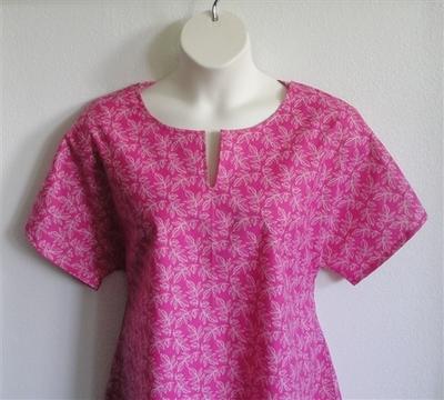 Gracie Shirt - Pink Leaves | Woven Fabrics