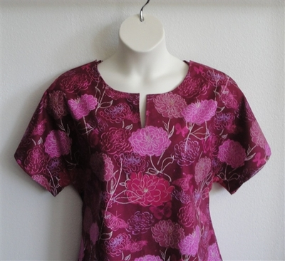 Gracie Shirt - Burgundy/Pink Floral | Woven Fabrics
