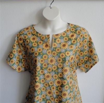 Gracie Shirt - Green Sunflower   Woven Fabrics