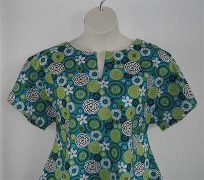 Gracie Shirt - Turquoise/Lime Medallion Floral | Woven Fabrics
