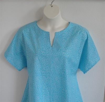 Gracie Shirt - Turquoise Floral Vine | Woven Fabrics