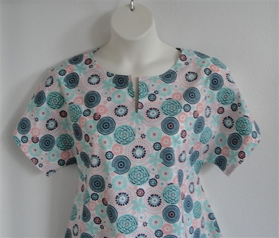 Gracie Shirt - Coral/Mint Medallion Floral | Woven Fabrics