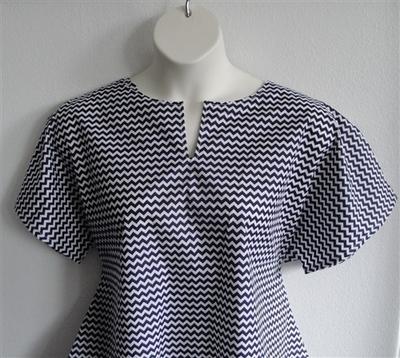 Gracie Shirt - Navy/White Chevron | Woven Fabrics