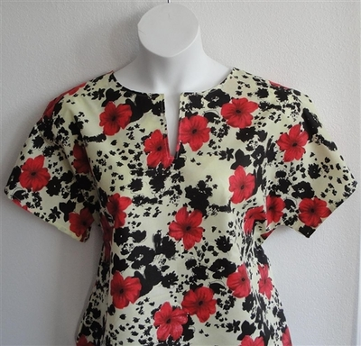 Gracie Shirt - Red Floral on Cream Poly | Woven Fabrics
