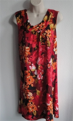 Red/Orange Floral Poly Jersey Post Surgery Gown - Heidi