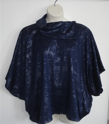 Navy/Silver Foil Side Opening Shirt - Katie