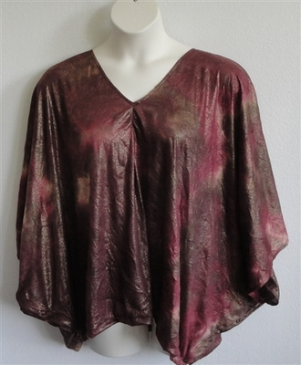 Burgundy/Gold/Brown Batik Side Opening Shirt - Kiley