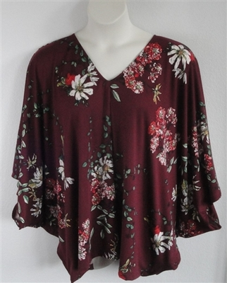 Kiley Side Opening Shirt - Burgundy Vine Floral | Side Opening Shirts