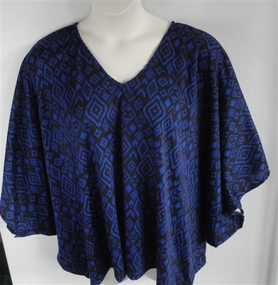 Kiley Side Opening Shirt - Royal/Black Geometric   Side Opening Shirts