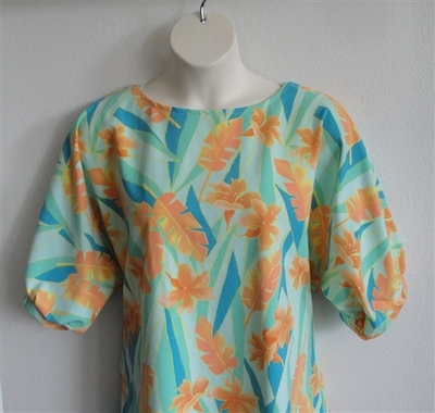 Teal/Orange/Yellow Tropical Cotton Knit Post Surgery Shirt - Libby
