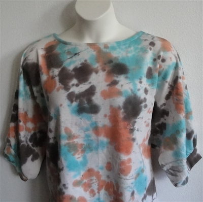 Libby Shirt - Turquoise/Coral Tie Dye French Terry | 3/4 Sleeve Shirts