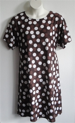 Orgetta Nightgown - Brown Dot Cotton Knit | Knit Gowns