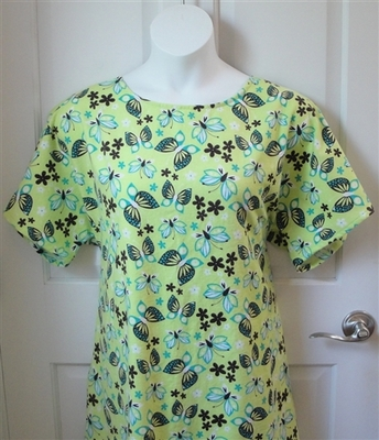 Green Butterfly Flannel Post Surgery Gown - Orgetta