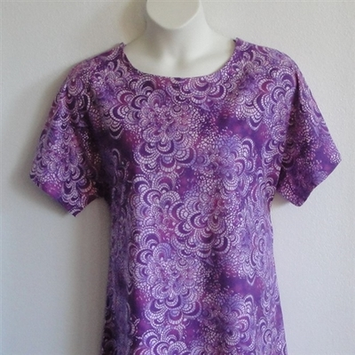 Purple Batik Flannel Post Surgery Gown - Orgetta
