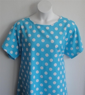 Turquoise Dot Flannel Adaptive Nightgown - Orgetta