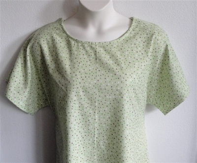 Green/Brown Dot Flannel Adaptive Nightgown - Orgetta