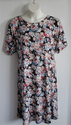 Orgetta Nightgown - Rust/White/Blue Floral Rayon Knit | Knit Gowns