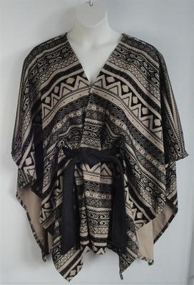 Shandra Cape - Black/Tan Aztec Ponte | Outerwear