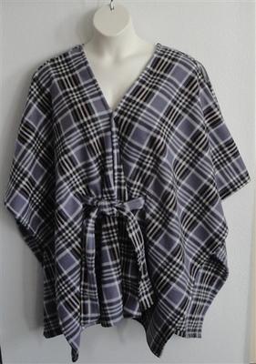 Shandra FLEECE Cape - Gray Plaid   Outerwear