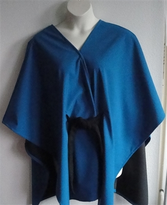 Shandra Soft Shell Fleece Cape - Turquoise/Black | Outerwear