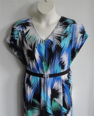Randi Dress - Blue/Green Splash Jersey Knit | Dresses