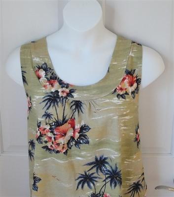 Sara Shirt - Tan Tropical Cotton Knit | Cotton/Rayon Blend