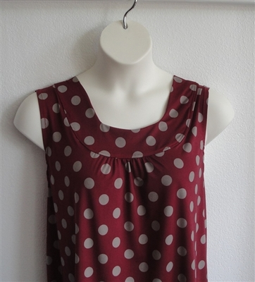 Sara Shirt - Burgundy/Tan Dot Jersey | Polyester Blends/ Other