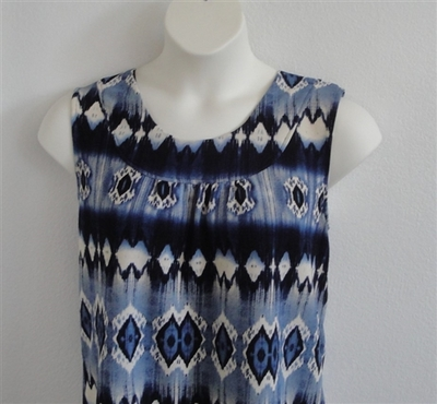 Sara Shirt - Blue Geometric Poly Knit | Polyester Blends/ Other