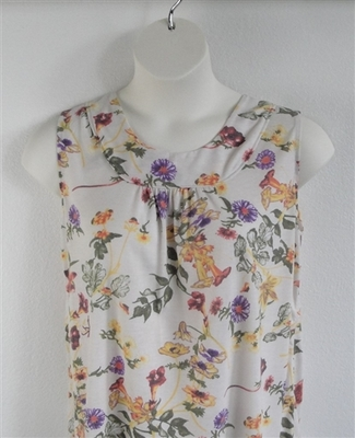 Sara Shirt - Yellow/Purple/Cream Floral Rayon Knit | Cotton/Rayon Blend