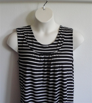 Sara Shirt - Black/White Stripe Rayon Knit | Cotton / Rayon