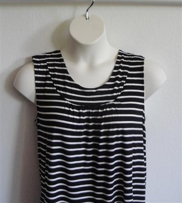 Sara Shirt - Black/White Stripe Rayon Knit | Cotton/Rayon Blend