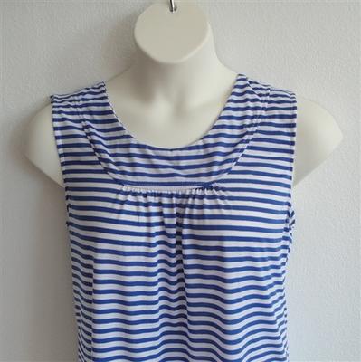 Sara Shirt - Royal Blue/White Stripe Cotton Knit | Cotton/Rayon Blend