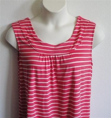 Sara Shirt - Red/White Stripe Rayon Knit | Cotton / Rayon