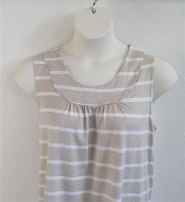 Sara Shirt - Tan/White Stripe Rayon Knit | Cotton/Rayon Blend