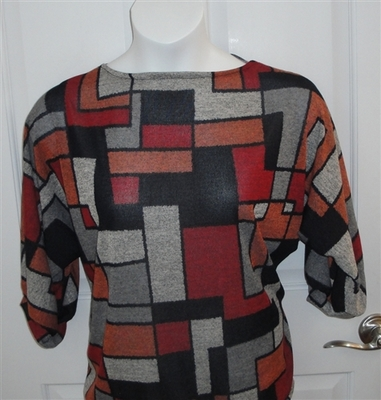 Jan Sweater - Red/Black Geometric Sweater Knit | Sweaters