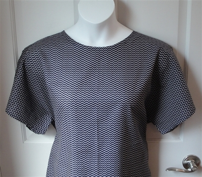 Tracie Shirt - Navy Chevron Woven Cotton | Woven Fabrics