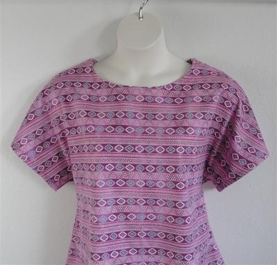 Pink/Aqua Aztec Flannel Post Surgery Shirt - Tracie