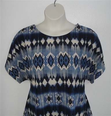 Tracie Shirt - Blue Geometric Poly Knit | Knits