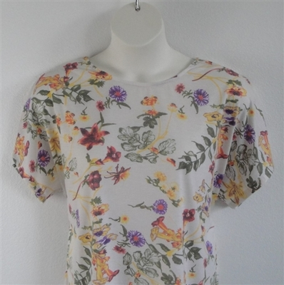 Tracie Shirt - Yellow/Purple/Cream Floral Rayon Knit | Short Sleeve Shirts